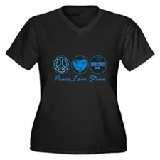 PEACE LOVE STENO Women's Plus Size V-Neck Dark T-S