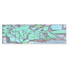 GREEN GRAFFITI WALL Bumper Bumper Sticker