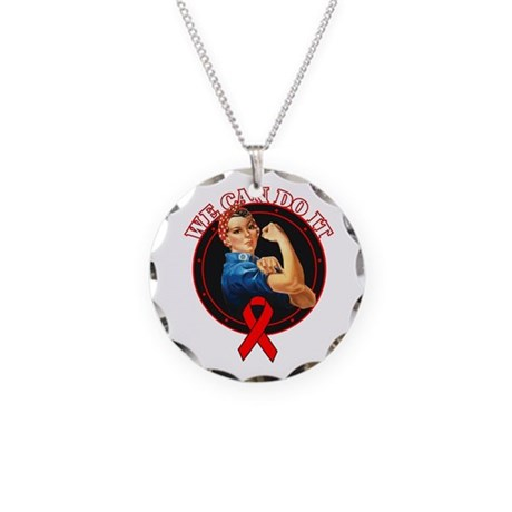 We Can Do It Heart Disease Necklace Circle Charm