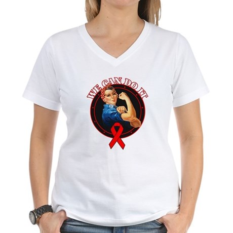 We Can Do It Heart Disease Women's V-Neck T-Shirt