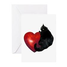 Black Cat Heart Greeting Cards (Pk of 20)