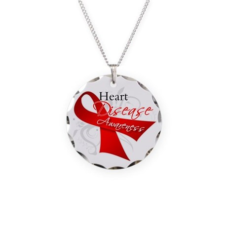 Heart Disease Ribbon Necklace Circle Charm