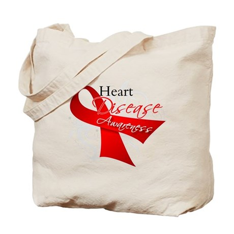 Heart Disease Ribbon Tote Bag