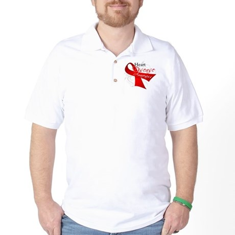 Heart Disease Ribbon Golf Shirt
