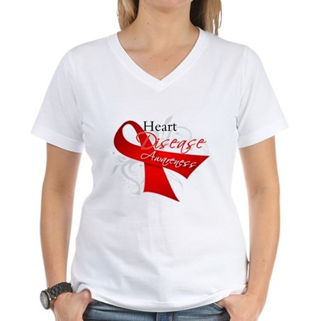 Heart Disease Ribbon Women's V-Neck T-Shirt