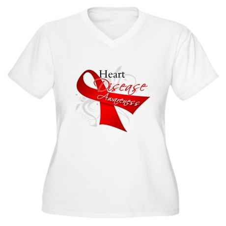 Heart Disease Ribbon Women's Plus Size V-Neck T-Sh