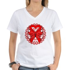 Butterfly Heart Disease Women's V-Neck T-Shirt