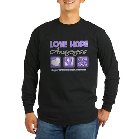 General Cancer Love Hope Long Sleeve Dark T-Shirt