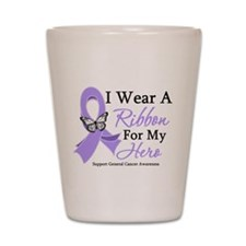 General Cancer Hero Ribbon Shot Glass