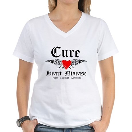 Cure Heart Disease Women's V-Neck T-Shirt