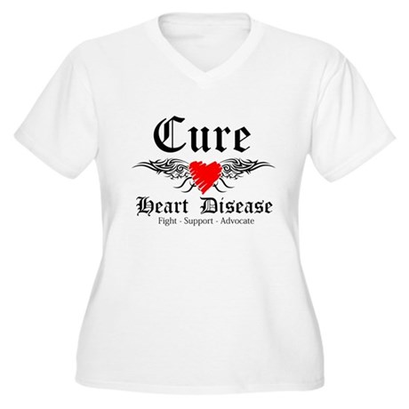 Cure Heart Disease Women's Plus Size V-Neck T-Shir