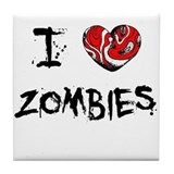 I Love Zombies - Tile Coaster