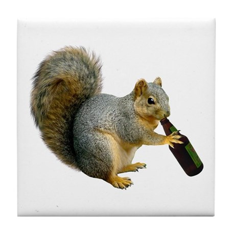 Squirrel Beer Tile Coaster