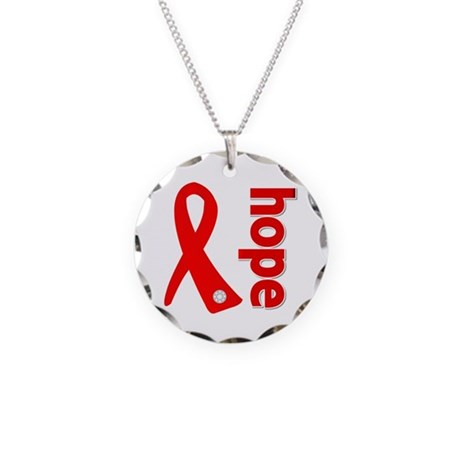 Hope Heart Disease Ribbon Necklace Circle Charm