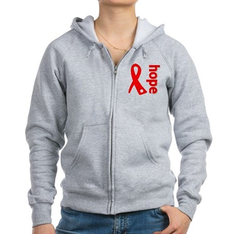 Hope Heart Disease Ribbon Women's Zip Hoodie