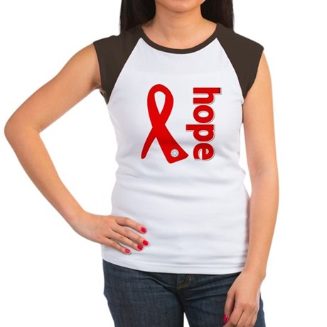 Hope Heart Disease Ribbon Women's Cap Sleeve T-Shi