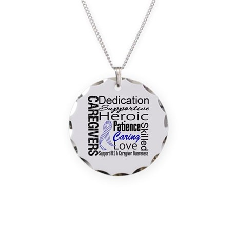 ALS Caregivers Collage Necklace Circle Charm