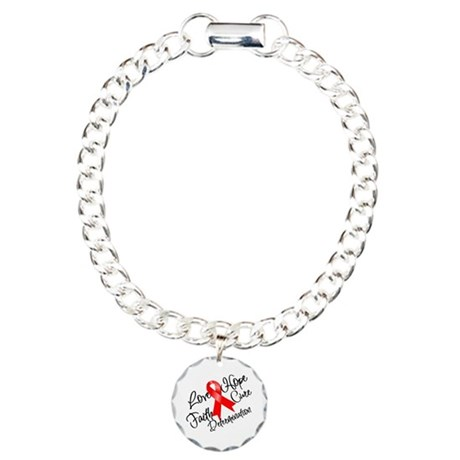 Love Hope Heart Disease Charm Bracelet, One Charm