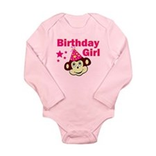 Birthday Girl Monkey Long Sleeve Infant Bodysuit