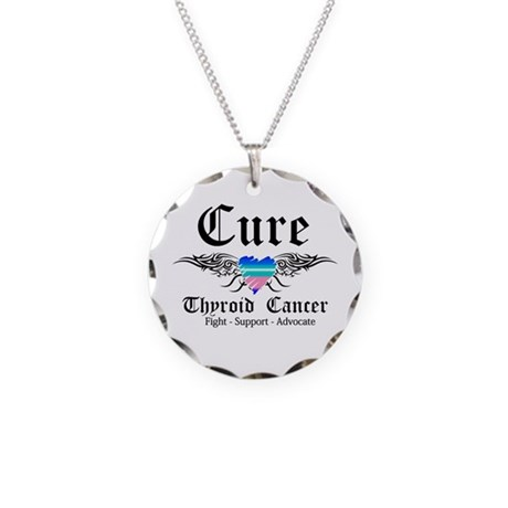 Cure Thyroid Cancer Necklace Circle Charm