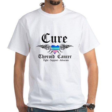 Cure Thyroid Cancer White T-Shirt
