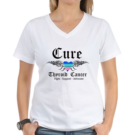 Cure Thyroid Cancer Women's V-Neck T-Shirt
