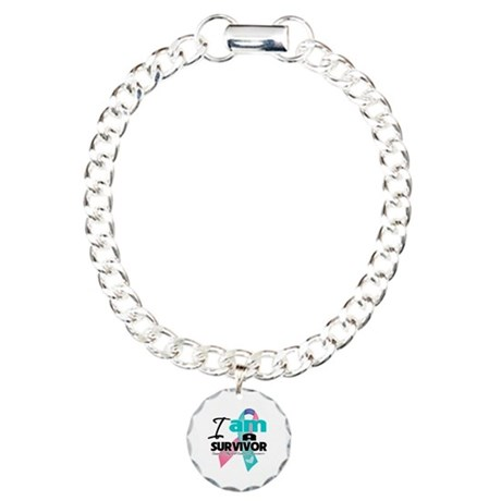 Thyroid Cancer Survivor Charm Bracelet, One Charm
