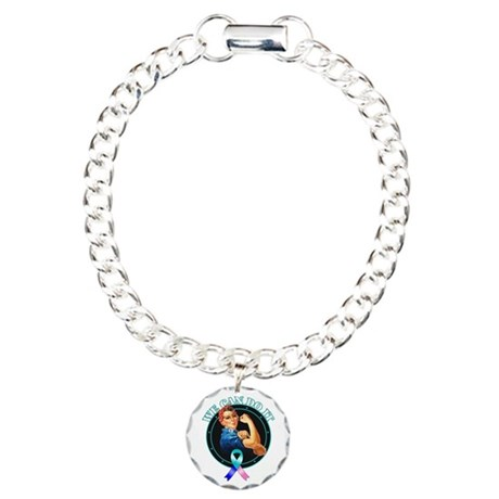We Can Do It Thyroid Cancer Charm Bracelet, One Ch
