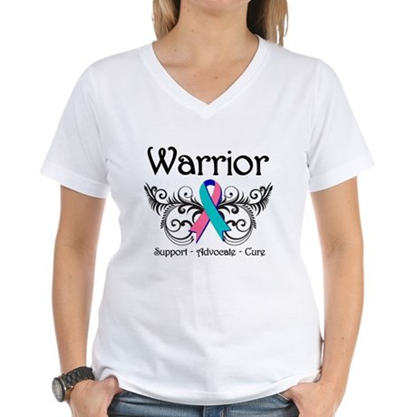 Thyroid Cancer Warrior Women's V-Neck T-Shirt
