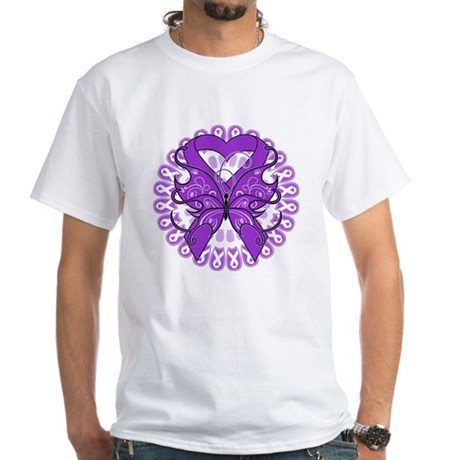 Butterfly Alzheimers Disease White T-Shirt