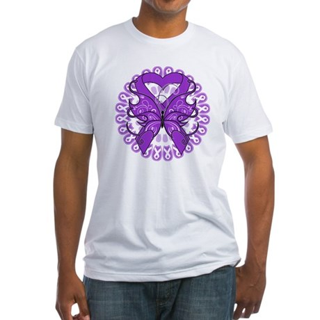 Butterfly Alzheimers Disease Fitted T-Shirt