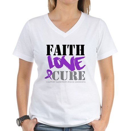 Faith Love Cure Alzheimers Women's V-Neck T-Shirt
