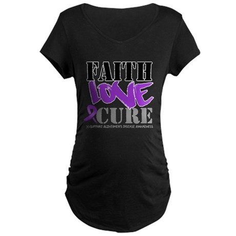 Faith Love Cure Alzheimers Maternity Dark T-Shirt