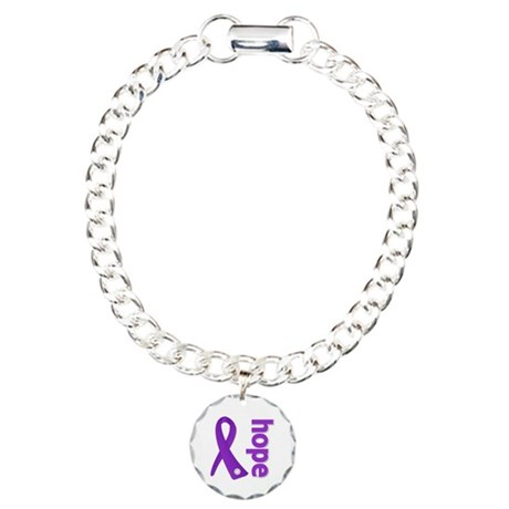 Hope Ribbon Alzheimers Charm Bracelet, One Charm