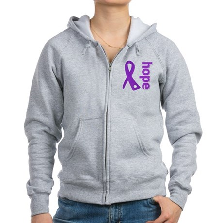Hope Ribbon Alzheimers Women's Zip Hoodie
