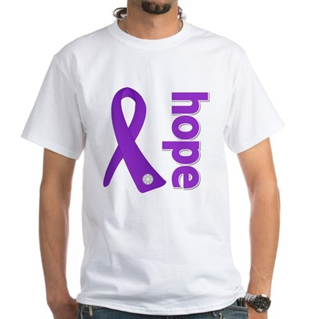 Hope Ribbon Alzheimers White T-Shirt