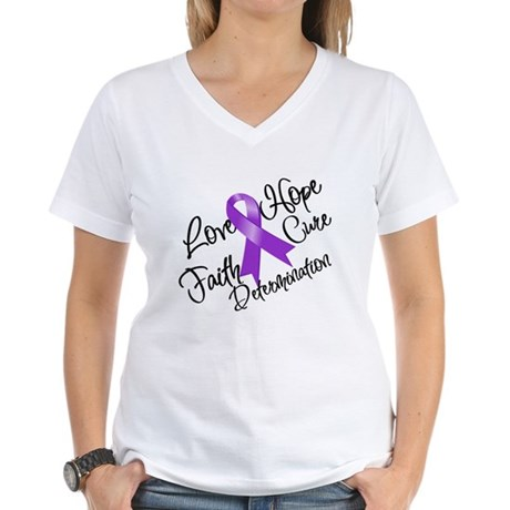 Hope Cure Alzheimers Women's V-Neck T-Shirt