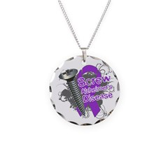 Screw Alzheimer's Disease Necklace Circle Charm
