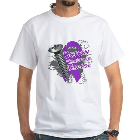 Screw Alzheimer's Disease White T-Shirt