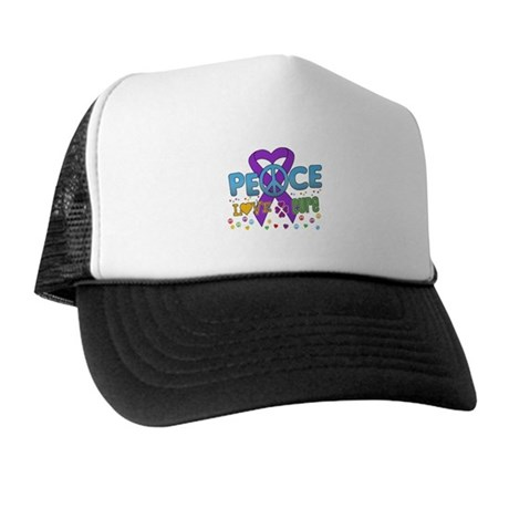 Epilepsy Peace Love Cure Trucker Hat