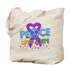 Epilepsy Peace Love Cure Tote Bag