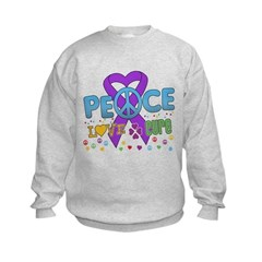 Epilepsy Peace Love Cure Kids Sweatshirt