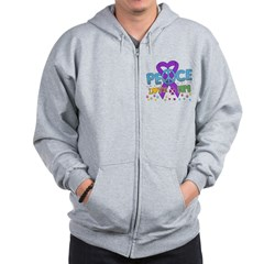 Epilepsy Peace Love Cure Zip Hoodie