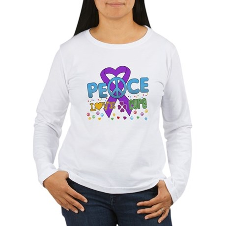 Epilepsy Peace Love Cure Women's Long Sleeve T-Shi