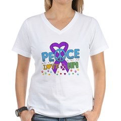 Epilepsy Peace Love Cure Women's V-Neck T-Shirt