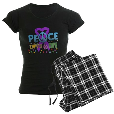 Epilepsy Peace Love Cure Women's Dark Pajamas