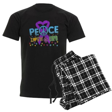 Epilepsy Peace Love Cure Men's Dark Pajamas