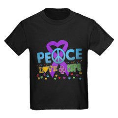 Epilepsy Peace Love Cure Kids Dark T-Shirt