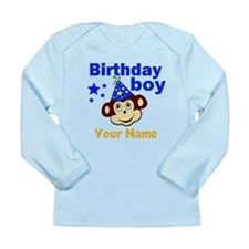 Birthday boy monkey custom Long Sleeve Infant T-Sh