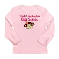 Big Sister Monkey Long Sleeve Infant T-Shirt